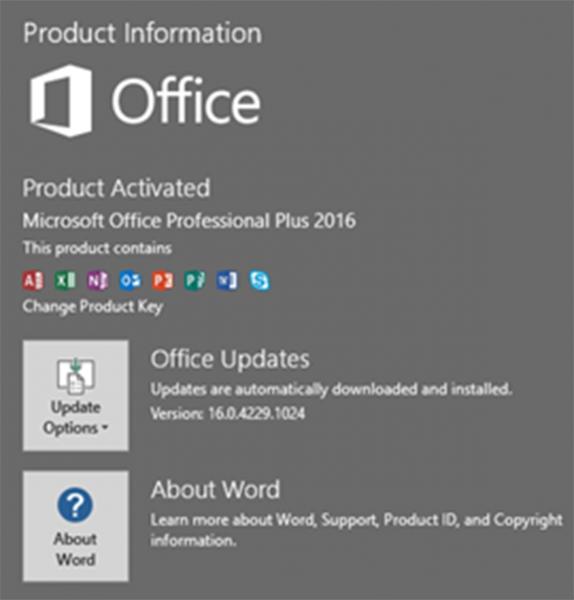 Hình ảnh phần mềm MS Office 2016 Đã Được Kích Hoạt thành công!