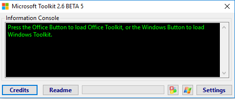 Giao diện phần mềm microsoft Toolkit 2.6.5