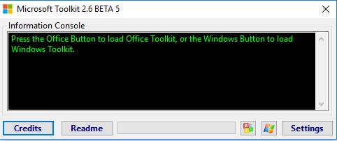 Giao diện ban đầu của Microsoft Toolkit 2.6.5